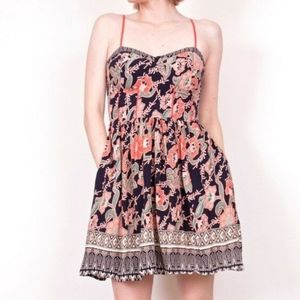 UO Band of Gypsies Floral Corset Top Strappy Dress